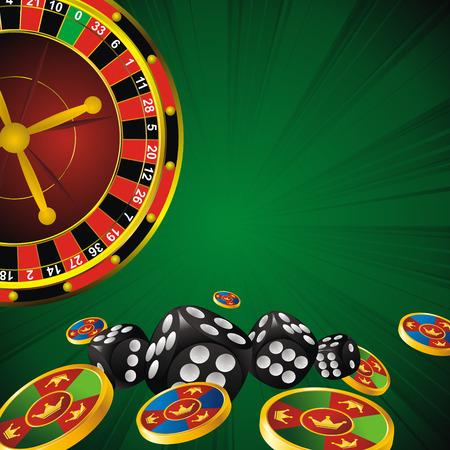 ruleta de casino: rueda símbolos de casino ruleta, dados y fichas sobre fondo tira verde