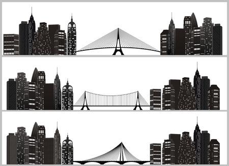 manhattan bridge: night city silhouette with bridge