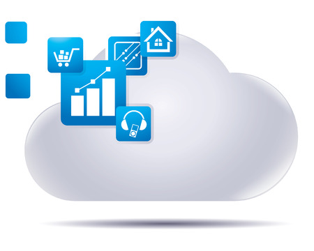 technological evolution: abstract icon as cloud service Illustration