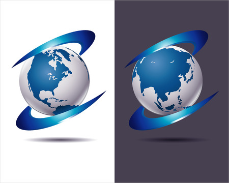 technological evolution: abstract business icon with Earth globe on white and dark background