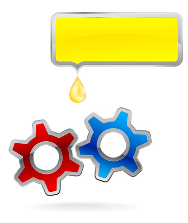 oiling: set of two colorful gear, frame and drop of oil