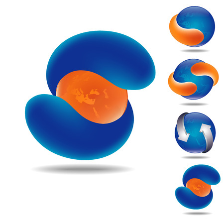set of four icona as orange and blue Earth sphere and orange or blue abstract arrows, isolated on white with shadow