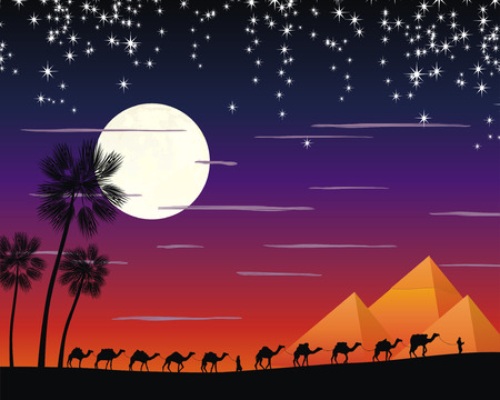nigth: caravan of camels in the desert near the pyramides under the moon Illustration