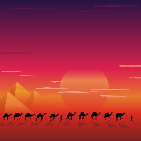 nigth: caravan of camels in the desert near the pyramides