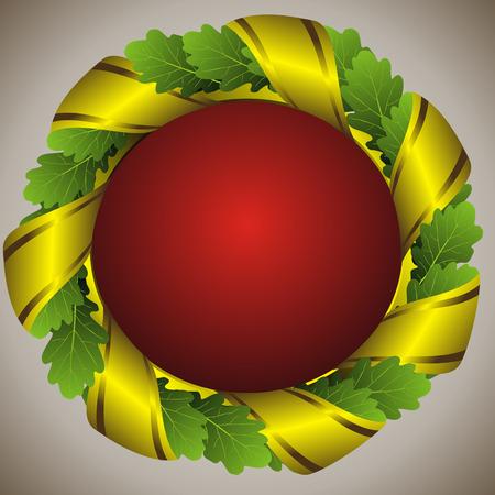 oak wreath: oak green laureate wreath with golden ribbon