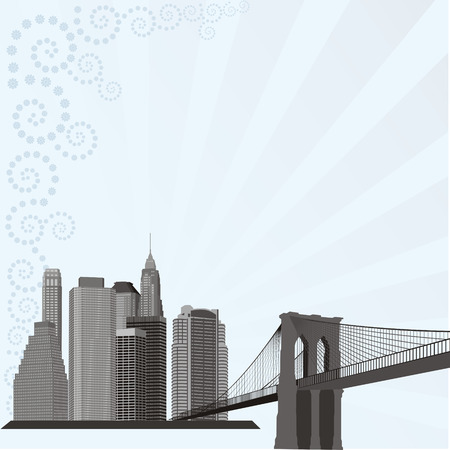 manhattan bridge: city building silhouette on abstract floral pattern Illustration