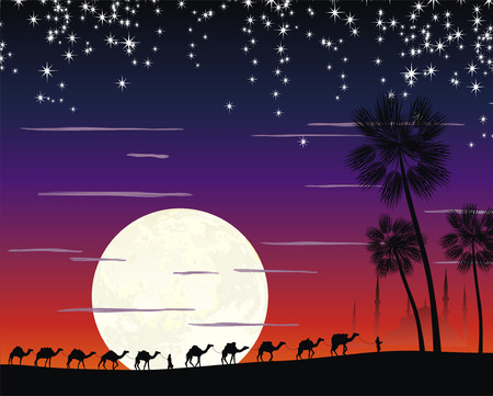 nigth: caravan of camels in the desert near the mosque under the moon