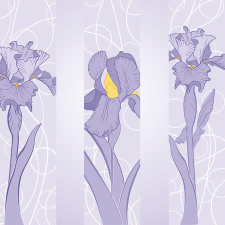 spring iris flower in pink ribbons Иллюстрация
