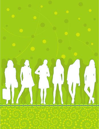 young people group: sagome dei giovani del gruppo sul motivo floreale astratto Vettoriali
