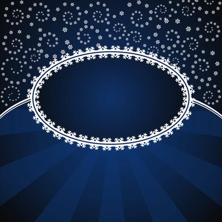 elipsy: zima niebieskiej karty z płatki śniegu i ramki elipsa Ilustracja