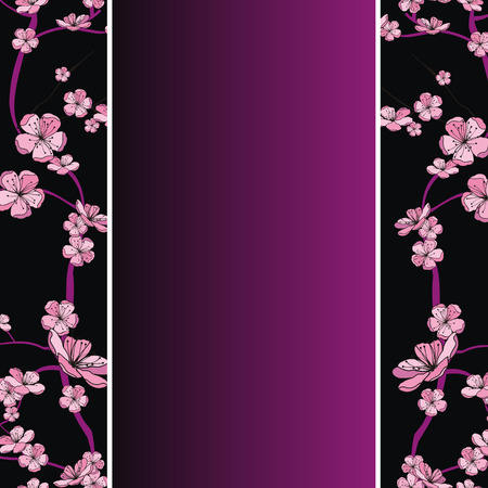 seamless spring flowering branch pattern on strip background