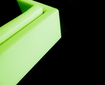 black carpet: Corner sofa green design on a black carpet