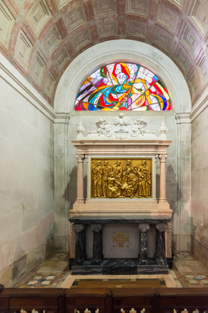 crucis: FATIMA, PORTUGAL - APRIL 24,2014: Stations of the cross (Via crucis) inside of Sanctuary  of Fatima, Fatima, Estremadura, Portugal