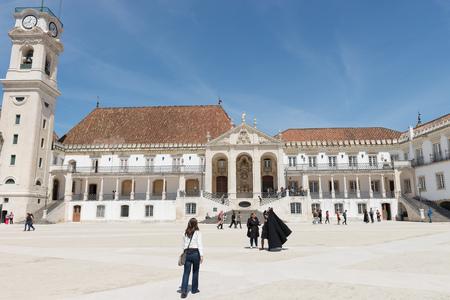 COIMBRA, PORTUGAL, APRIL 29, 2014: Coimbras University courtyard - Coimbra, Portugal Redakční