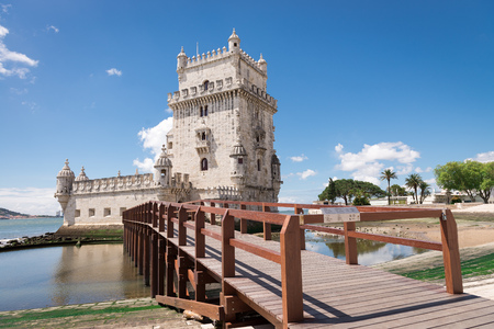 the tagus: Belem Tower located on the Tagus River, Lisbon, Portugal