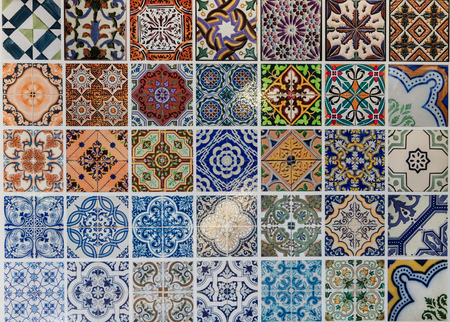 islamic pattern: Tiles ceramic patterns from Lisbon, Portugal.