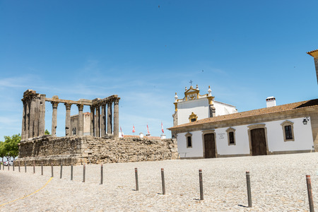 roman pillar: Dianna Temple in Evora. Ancient roman temple in the old city of Evora, Portugal Stock Photo