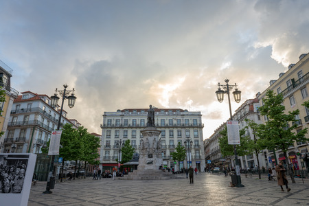 bairro: Lisbon, Portugal. april 22, 2014: View of Luis de Camoes Square located near the Chiado and Bairro Alto Districts