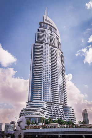 indefinitely: Dubai, United Arab Emirates - December 2, 2014 : view of the Address Downtown Dubai hotel. This hotel will be closed indefinitely after suffering extensive damage from the blaze on New Year's Eve.