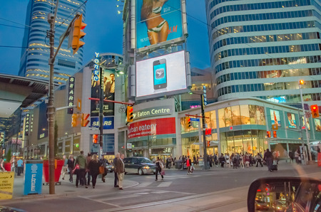 Toronto, Canada - 27 may 2013: Yonge-Dunda Square in Toronto. Yonge- Dunda Square is a commercial and public square, hosts many events and it is one of Torontos main attraction