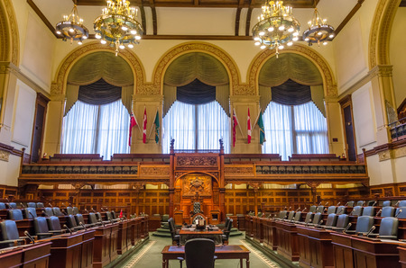 Toronto, Canada - 26 may 2013: Interior of Queens Park legislative buildings.  Designed by architect Richard A. Waite; its construction begun in 1886 and it was opened in 1893.