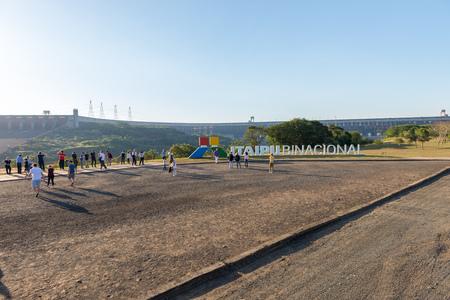 Hydroelectricity: Foz do Iguacu, Brazil - july 10, 2016: The Itaipu dam sign in Foz do Iguazu in Brazil