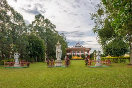 Foz do Iguazu, Brazil - july 8, 2016: Chinese classical Buddah temple and stone warriors in a Temple at the Foz do Iguazu, Brazil