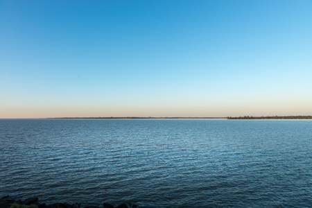 The lake at the parana river in Itaipu dam park at the brazilian border. Stock Photo