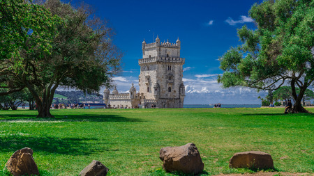 the tagus: Lisbon, Portugal - April 21, 2014: Belem Tower located on the Tagus River, Lisbon, Portugal