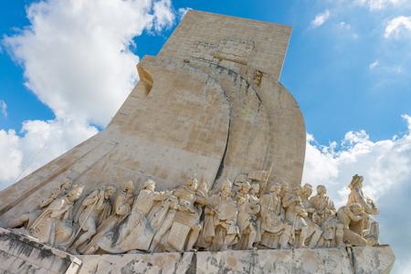 descubridor: Belem, Lisboa, Portugal - 21 de abril 2014: Detalle del Monumento a los Descubrimientos (Padrao dos Descobrimentos), Lisboa, Portugal