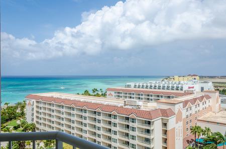 Aruba, Caribbean - September 26, 2012: Aerial panorama view of hotels building in Aruba, Caribbean