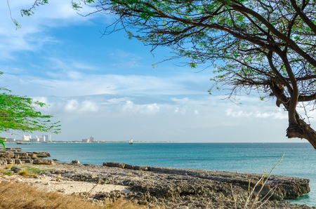 Panorama view of the image taken from Malmok Beach, Aruba, in the Caribbean Sea. Stock Photo