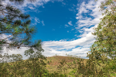 insurmountable: View of the nature with bright sky in countryside, Minas Gerais, Brazil.