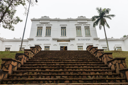 Sao Paulo, Brazil june 18, 2016. Facade of Vital Brazil Building in Butantan Institute, founded in 1901. The institute is a producer of immunobiologicals for public health,  vaccines and sera. Editorial