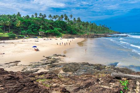 Itacare, Brazil - December 6, 2016: Tourists at the beautiful Tiririca beach at the Itacare city in Bahia Brazil