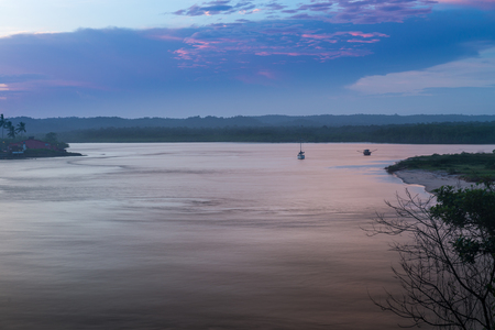 Itacare, Brazil - December 6, 2016: View of the river in Itacare Bahia at the sunset