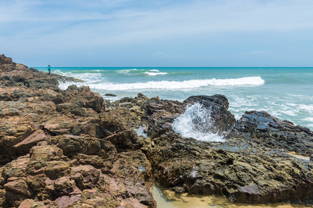 Itacare, Brazil - December 7, 2016: Beautiful landscapes and water texture forms by the beach in Itacare Bahia Editorial