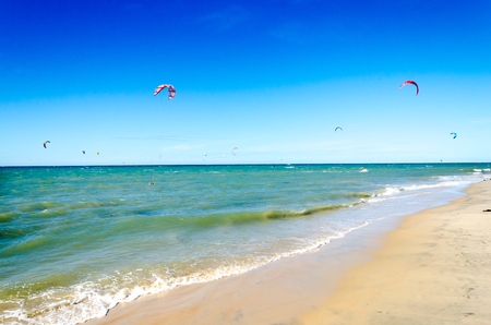 A lot of kite surfers on the air in Cumbuco paradise beach