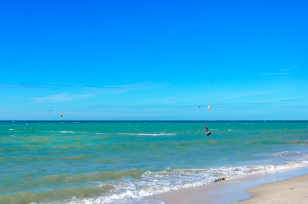 Cumbuco, Brazil, jul 9, 2017: A kite surfer making an oustanding maneuver on the sea - part 66