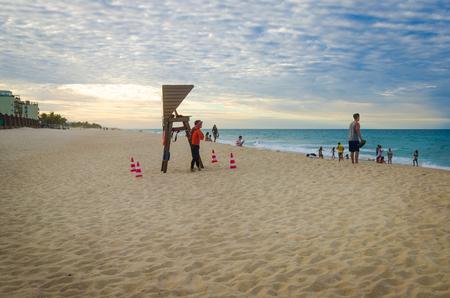 Fortaleza, Brazil, jul 8, 2017: Porto das Dunas beach at the Aquiraz district in Fortaleza