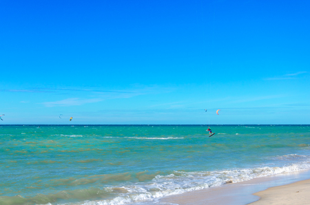 Cumbuco, Brazil, jul 9, 2017: A kite surfer making an oustanding maneuver on the sea - part 56