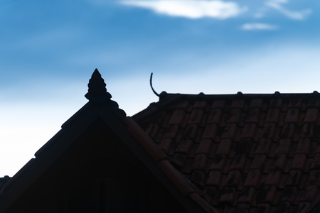 Rooftop silhouette with nice decoration shapes and sky as background