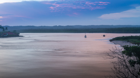 View of the river in Itacare Bahia at the sunset