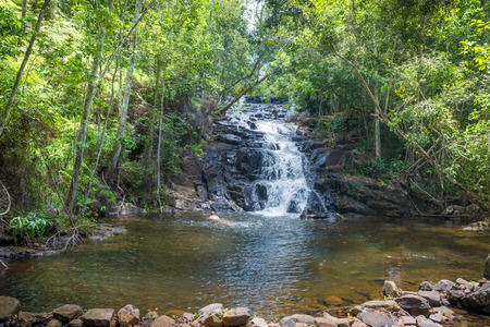 Itacare, Brazil - December 9, 2016: Waterfall and stream in the forest in Itacare Bahia Brazil Editorial