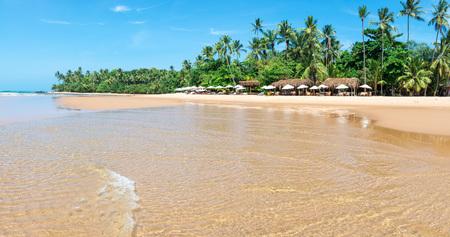 Itacare, Brazil - December 8, 2016: Tourists enjoying barra grande beach located at the Ponta do Muta Brazil