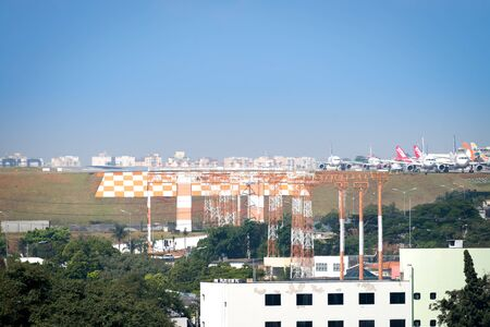 Sao Paulo, Brazil, mai 26, 2018: Air planes taxing, landing and taking off out of the Congonhas airport in Sao Paulo