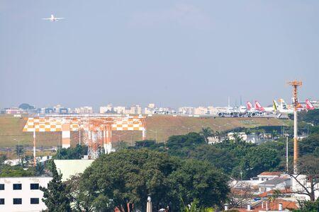 Sao Paulo, Brazil, mai 26, 2018: Airplane taking off at the Congonhas airport in Sao Paulo Editöryel