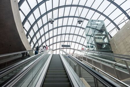 Sao Paulo, Brazil, mai 26, 2018: Glass dome detail of the new Moema subway station in Sao Paulo