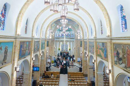Sao Paulo, Brazil, mai 26, 2018: Inside view of he Our Lady Appeared church in Sao Paulo city