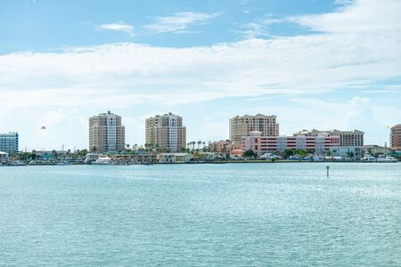 Clearwater, USA - jun 15, 2018: View of buildings and marina in Clearwater Florida Editorial